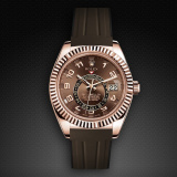 Rolex SkyDweller on Strap Chocolate Brown VulChromatic Jet Black M110-BR/VCSBK