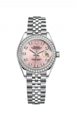 Lady-Datejust 28 Steel White gold and Diamonds