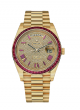 40mm Yellow Gold Ruby Diamonds Rare