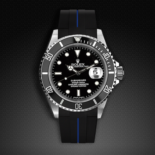Rubber B  Submariner Non-Ceramic Classic Series VulChromatic Jet Black Pacific Blue M103-BK/VCBL-SNC