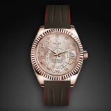 Rolex SkyDweller on Strap Chocolate Brown VulChromatic Red Devil M110-BR/VCRD