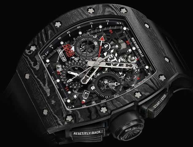 Richard Mille RM 11-02 Automatic Flyblack Chronograph Dual Time Zone Jet Black Limited Edition