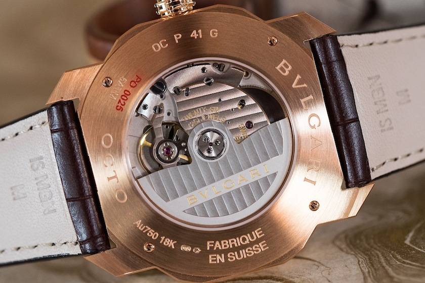 display caseback showing off the in-house automatic caliber BVL 193