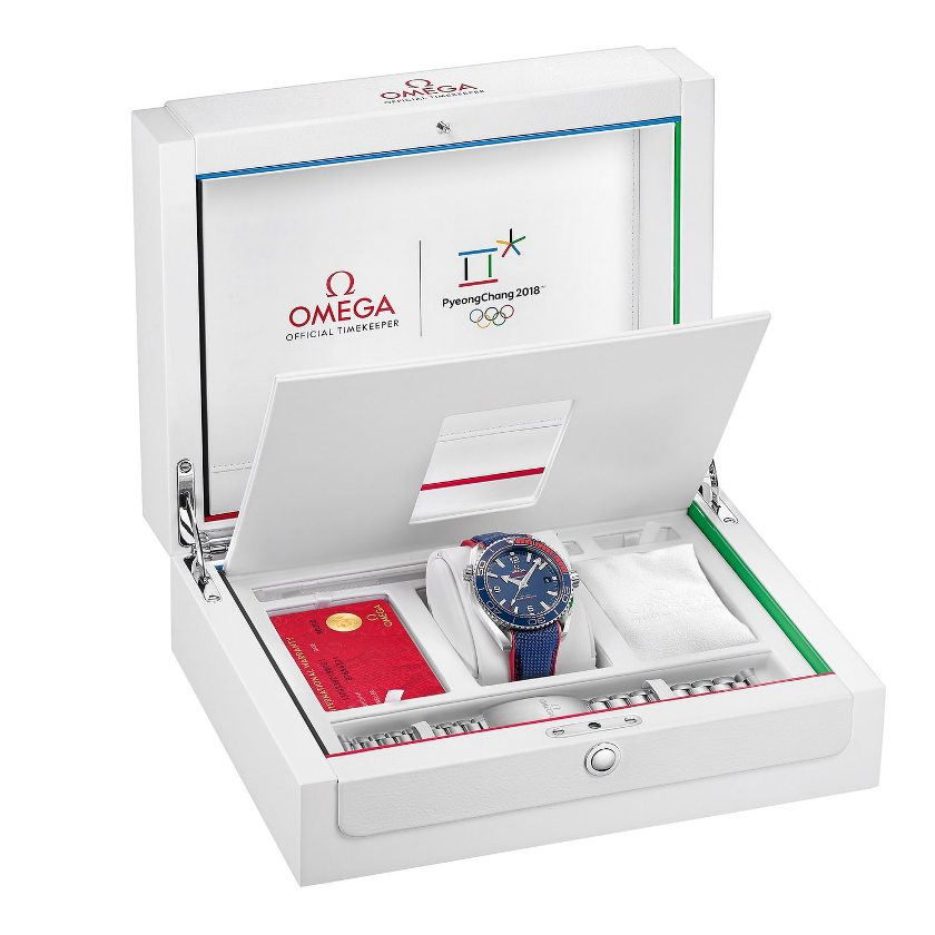 The commemorative box for the Omega Seamaster Planet Ocean PyeongChang 2018 Limited Edition