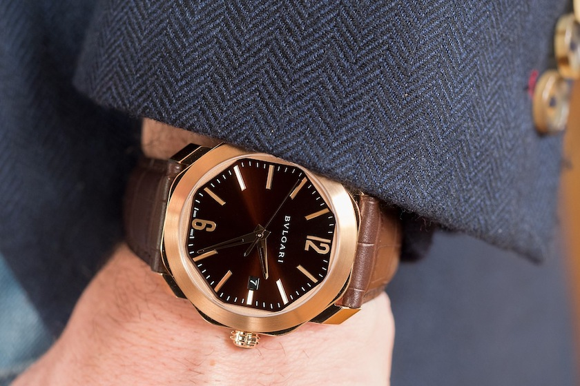 bulgari Octo Roma in rose gold with the new brown lacquer dial