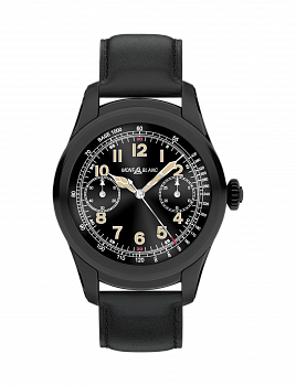 Summit Smartwatch of Black Steel and Leather Strap